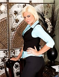 Blonde milf Rebecca flaunts her hot body in seductive office attire