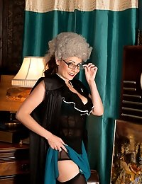Classy milf Sophia Delane plays naughty dress up