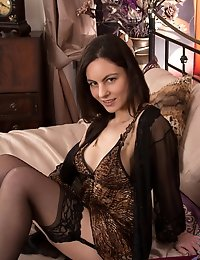 Horny housewife Michelle Khan is mouthwatering in animal print lingerie