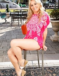 Stunning MILF goes outdoors to tease you with her body