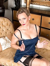 Hot mommy slips off her satin dress