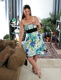 Horny milf sheds her tiny sundress to show off her lingerie